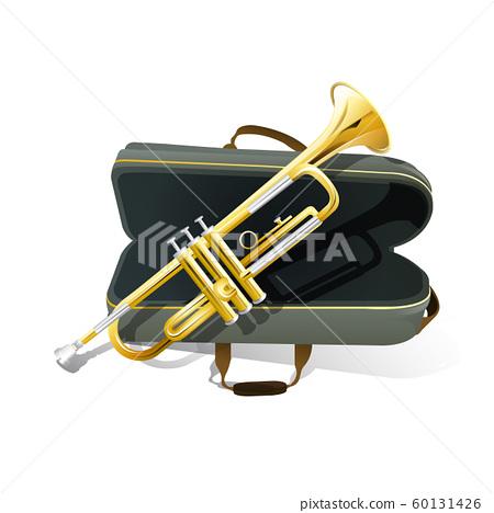 Brass trumpet icon. Philharmonic orchestra 60131426