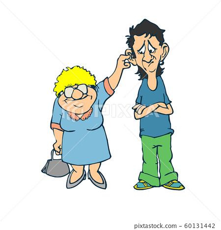 Grandson hugging his grandmother. Vector 60131442