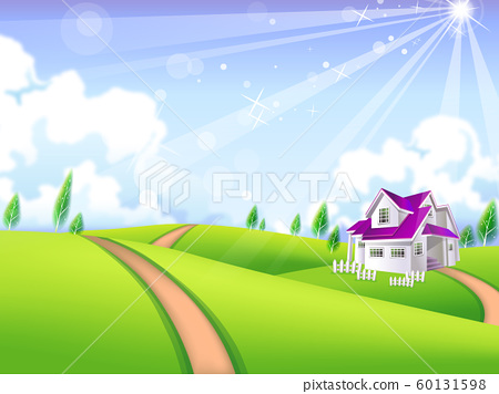 Nature landscape with houses trees and clouds 60131598