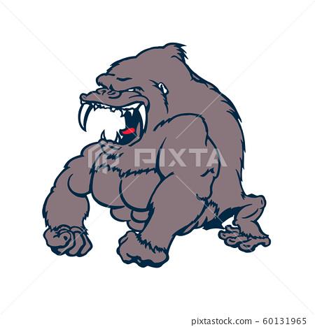 ferocious Gorilla powerful cartoon character 60131965
