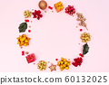 Christmas wreath on pink background. Christmas decoration. Flat lay, top view, copy space 60132025