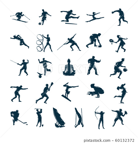 Set of vector silhouettes of people in sports 60132372