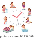 Daily clock for girl. Routine schedule of happy baby girls life from morning breakfast at home eating school to sleep 60134066