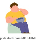 Eating addiction. Mental ill addict fat man sitting in chair and eating fast food color vector concept 60134068