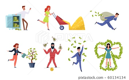 Rich people. Wealthy woman and millionaire man bathing in money, happy businessman magnate cash banknote dollar cartoon vector set 60134134