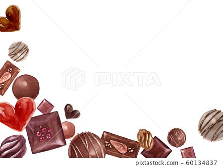 발렌타인 초콜릿 배경 수채화 일러스트 60134837