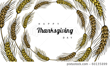 Thanksgiving day backgrounds and greeting card with flower and leaf drawing illustration. 60135899