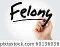 Hand writing Felony with marker 60136036
