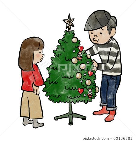 Families Who Decorate Christmas Trees Stock Illustration 60136583 Pixta