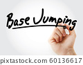 Hand writing BASE jumping with marker 60136617