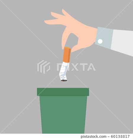 Hand putting cigarettes in trash bin flat style 60138817