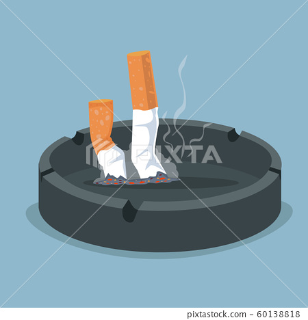 Cigarette in ashtray with smoking product 60138818