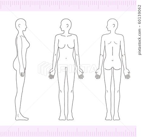 女性医学美容裸体裸体全身正面,背面,侧面 60139062