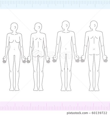 外形男/女醫學美女裸照,全身正面/背面 60139722