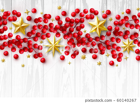 Vector Christmas Background with Realistic Decoration of Red Holly Berry Branches 60140267
