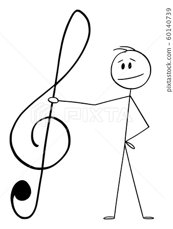 Vector Cartoon Illustration of Man Holding Big Musical Clef or G-clef 60140739