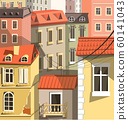 Cityscape closeup, old town houses in European style 60141043