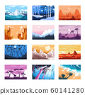 Nature landscapes isolated icons, mountains and beach, sunset and night 60141280