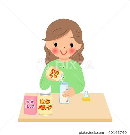 媽媽將液態奶倒入嬰兒奶瓶 60141740