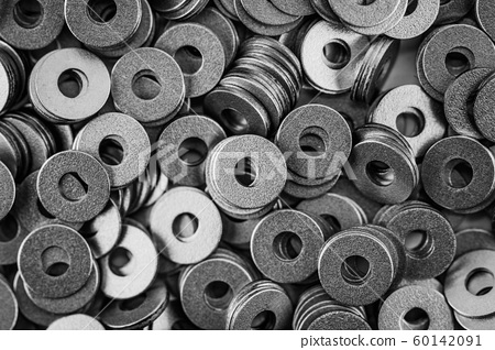 steel ring circle, metal shining washers background 60142091