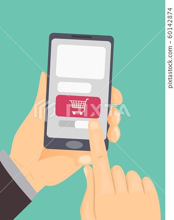 Hand Shopping Cart Mobile Illustration 60142874