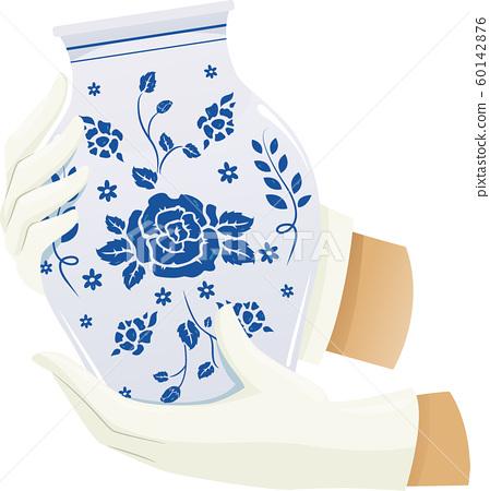 Hands Hold Porcelain Jar Illustration 60142876