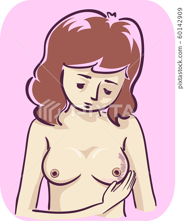 Girl Breast Changing Color Texture Illustration 60142909