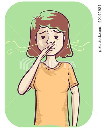 Girl Sensitive Smell Illustration 60142921