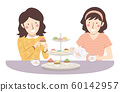 Girls Friend Tea Time Illustration 60142957