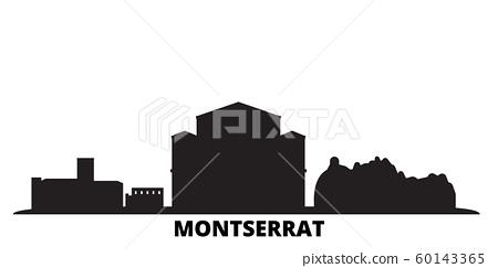 Montserrat city skyline isolated vector illustration. Montserrat travel black cityscape 60143365