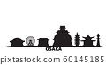 Japan, Osaka city skyline isolated vector illustration. Japan, Osaka travel black cityscape 60145185