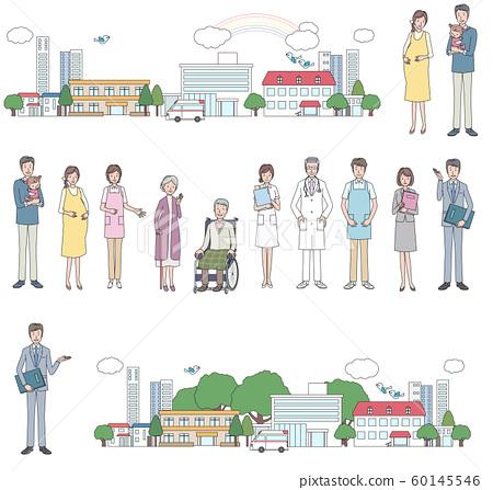 一組護理和醫院相關人員 60145546
