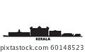 India, Kerala city skyline isolated vector illustration. India, Kerala travel black cityscape 60148523