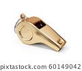 Steel metal golden whistle isolated 60149042