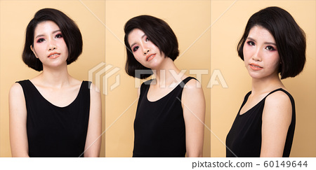 Fashion Asian Woman Tan skin black hair eyes 60149644
