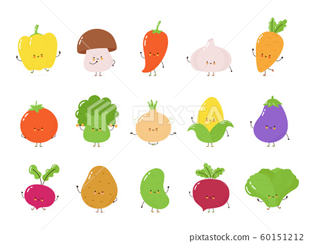 Cute happy vegetables character set collection 60151212