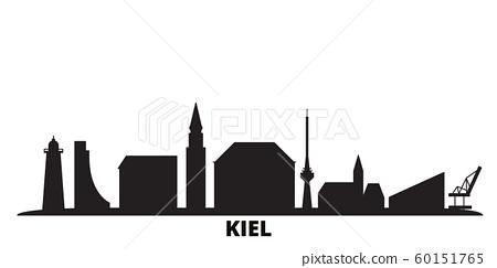 Germany, Kiel city skyline isolated vector illustration. Germany, Kiel travel black cityscape 60151765