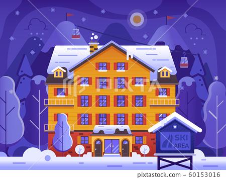 Winter Ski Resort Landscape in Flat Design 60153016