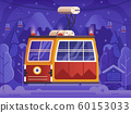 Ski Red Cable Car Winter Holidays Scene 60153033