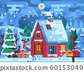 Snowy Winter Red Log House in Mountains 60153049