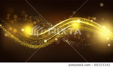 Gold sparkle wave on black blurred background. 60153142