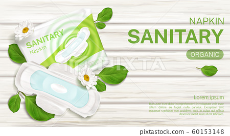 Sanitary napkins package chamomile flower mock up 60153148