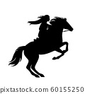 female native american indian horse rider black vector silhouette 60155250