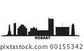 Australia, Hobart city skyline isolated vector illustration. Australia, Hobart travel black cityscape 60155342