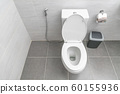 Clean Toilet in the bathroom. copy space 60155936