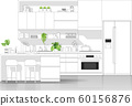 Interior design with modern kitchen in black line sketch on white background 60156876