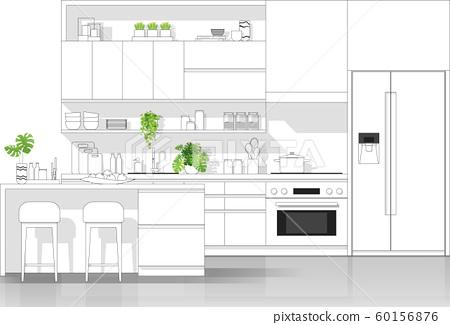 Interior design with modern kitchen in black line sketch on white background 60156876