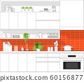 Interior design with modern kitchen in black line sketch on colourful background 60156877