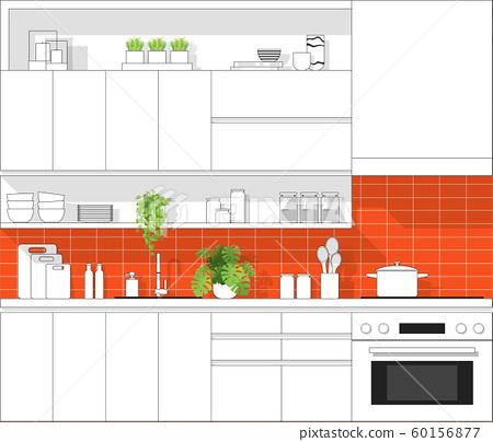 Interior design with modern kitchen in black line sketch on colourful background 60156877