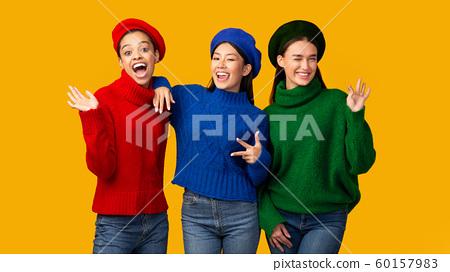 Three Multiethnic Girls Having Fun, Studio Shot, Panorama 60157983